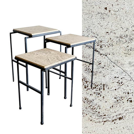 Vintage Italian Travertine Nesting Tables Set of Three