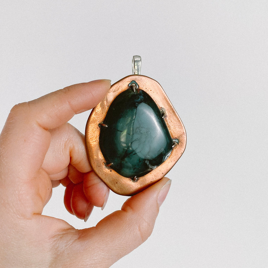 Vintage Green Stone on Copper Pendant Necklace