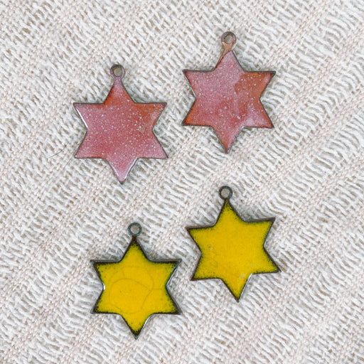 Vintage Enamel Star of David Earrings