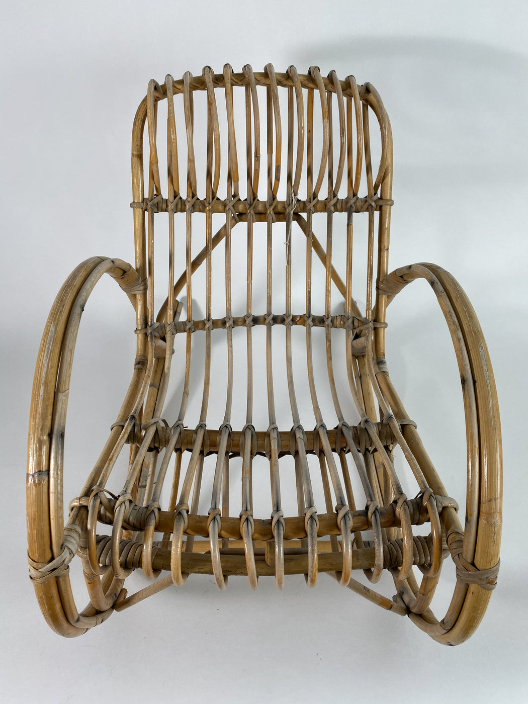 Vintage Baby Rattan Rocking Chair by Franco Albini | Child Toddler Chair