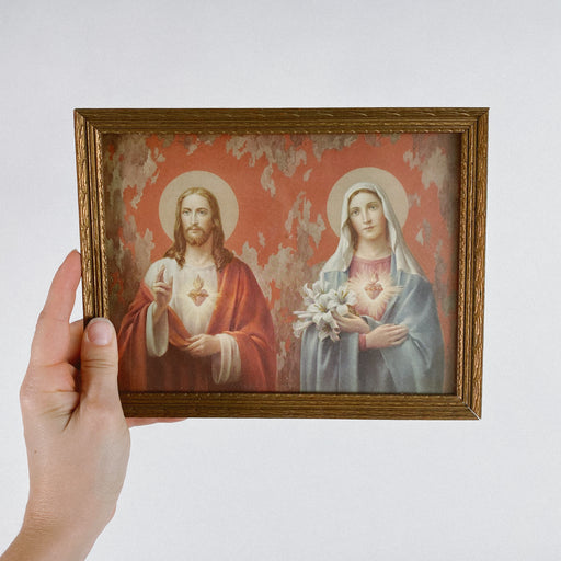 Vintage Catholic Sacred Heart Framed Print Jesus and Mary
