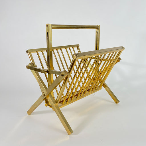 Vintage Brass Folding Magazine Rack Record Holder
