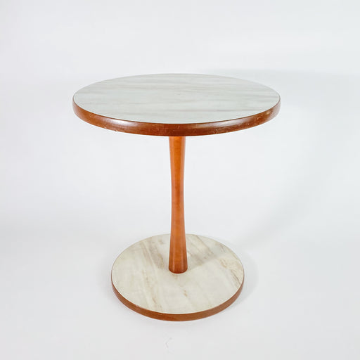 Mid Century Style White Faux Marble Side Table