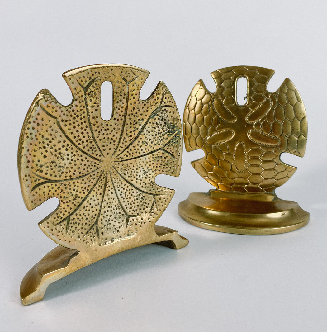 Vintage Brass Sand Dollar Bookends Seashell Book Ends