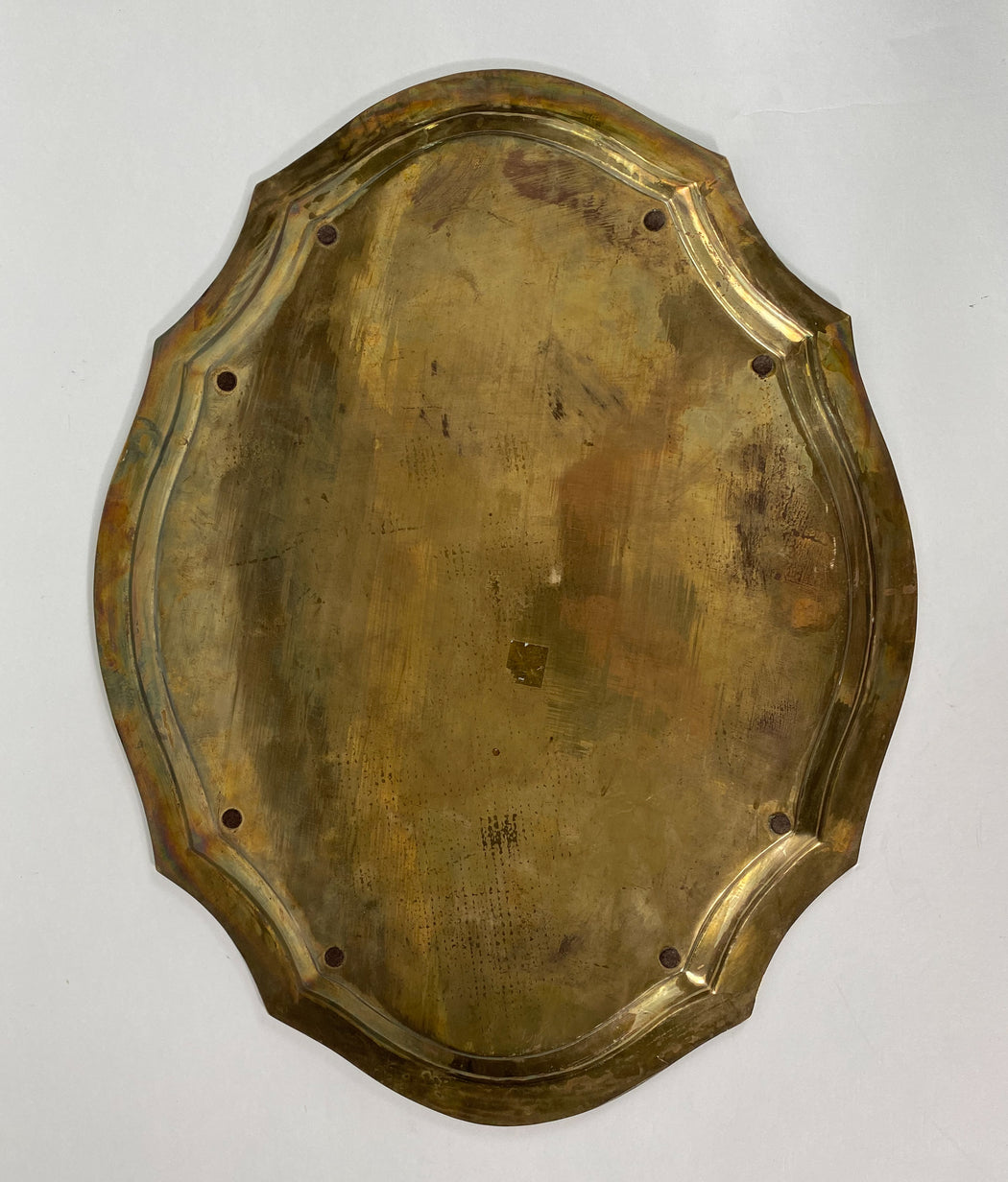 "Vintage 21"" Brass Oval Decorative Tray"