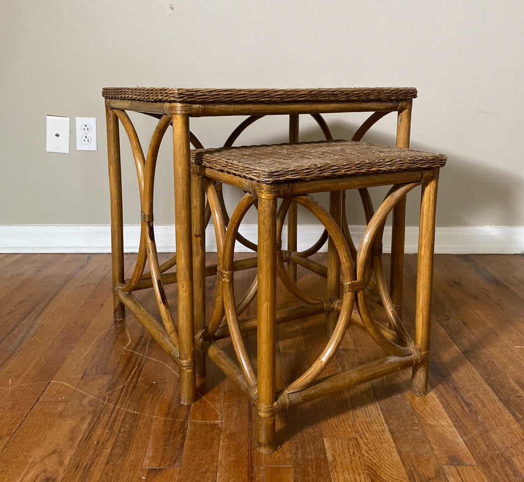 Vintage Rattan Nesting Tables Set of Two