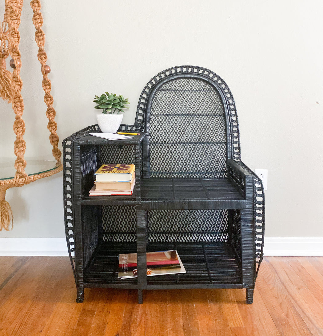 Vintage Black Wicker Chair and Table | Wicker Entry Furniture
