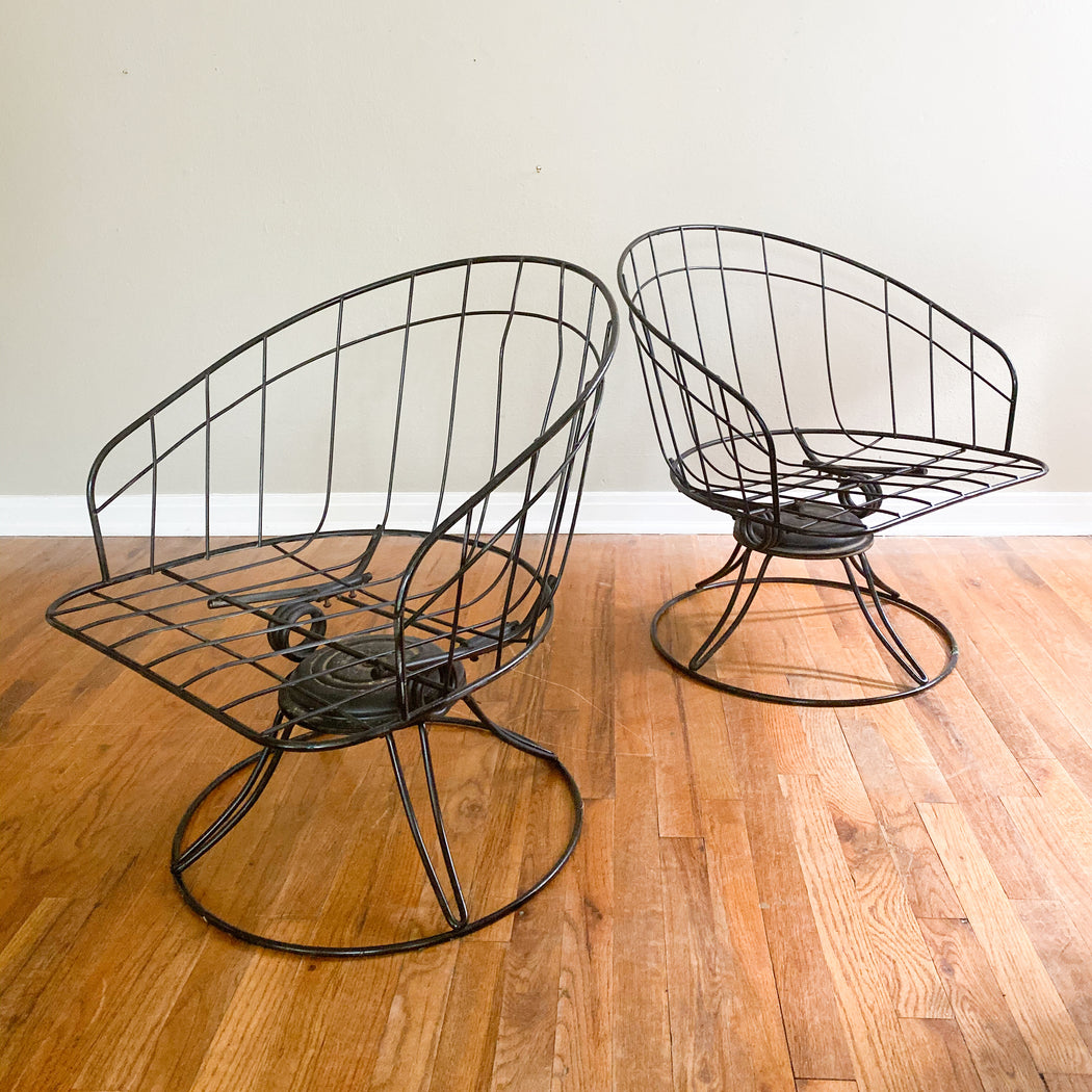 Mid Century Black Wire Chairs | Vintage Homecrest Patio Furniture