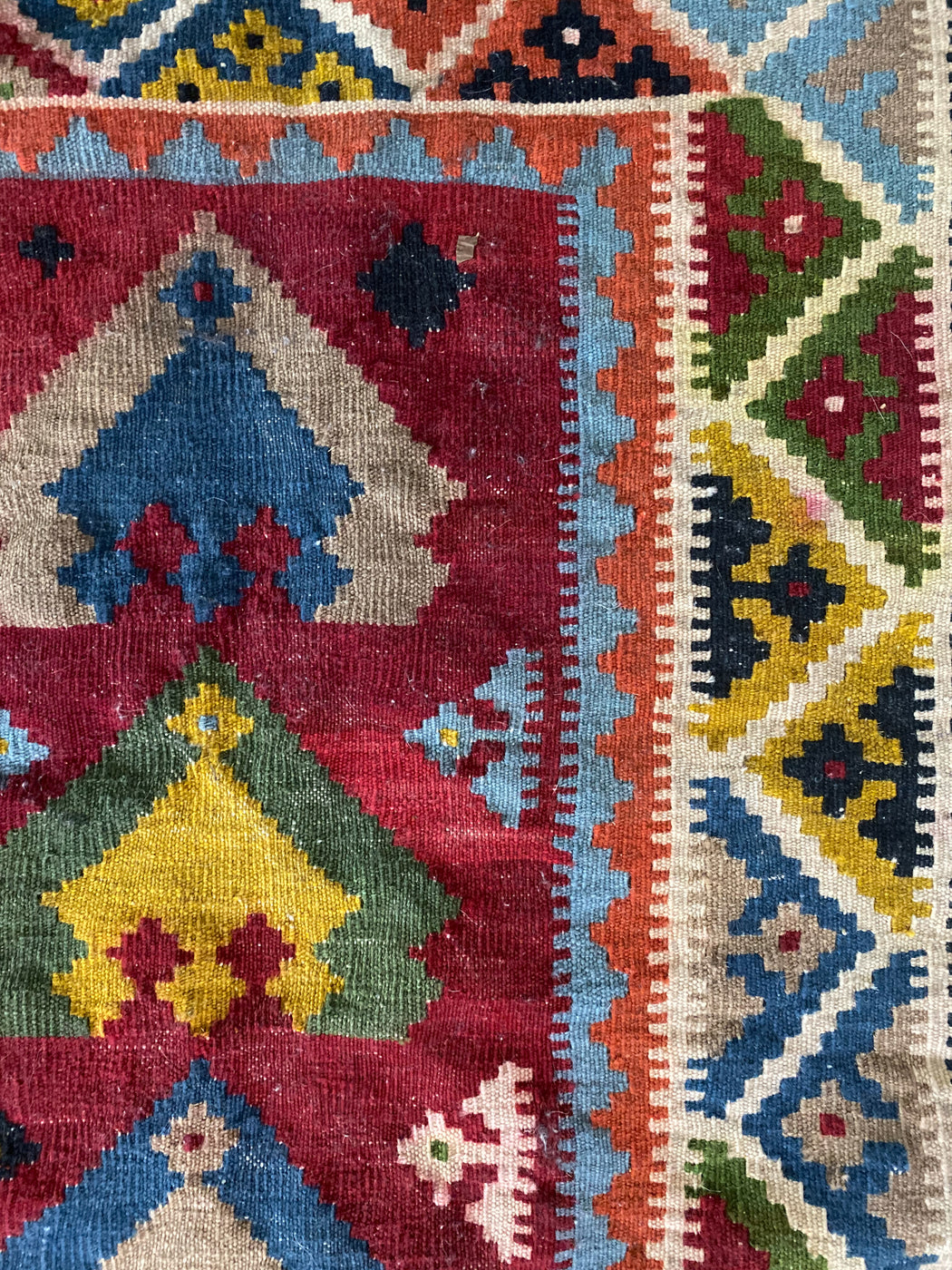 Medium Vintage Turkish Rug | Geometric Kilim Carpet