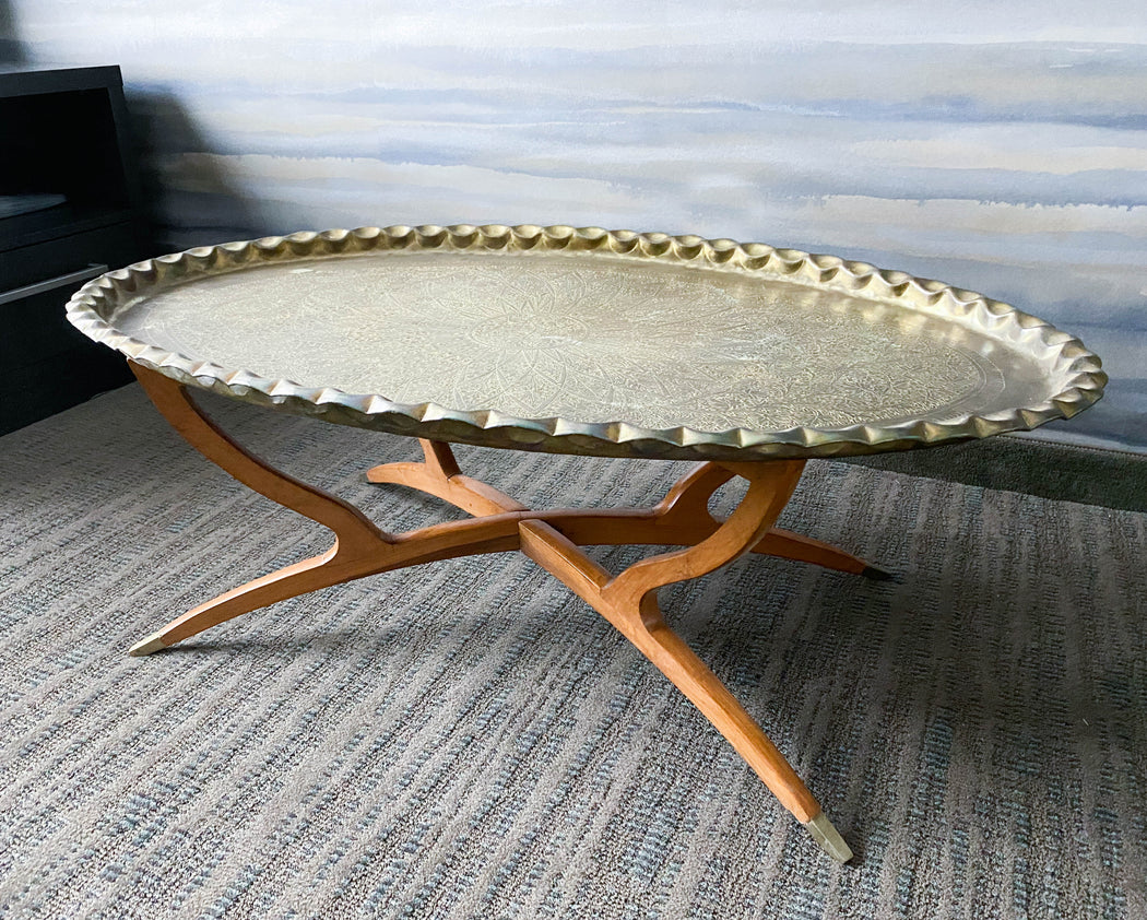 "Vintage 45"" Brass Moroccan Tray Table with Mid Century Folding Spider Legs"