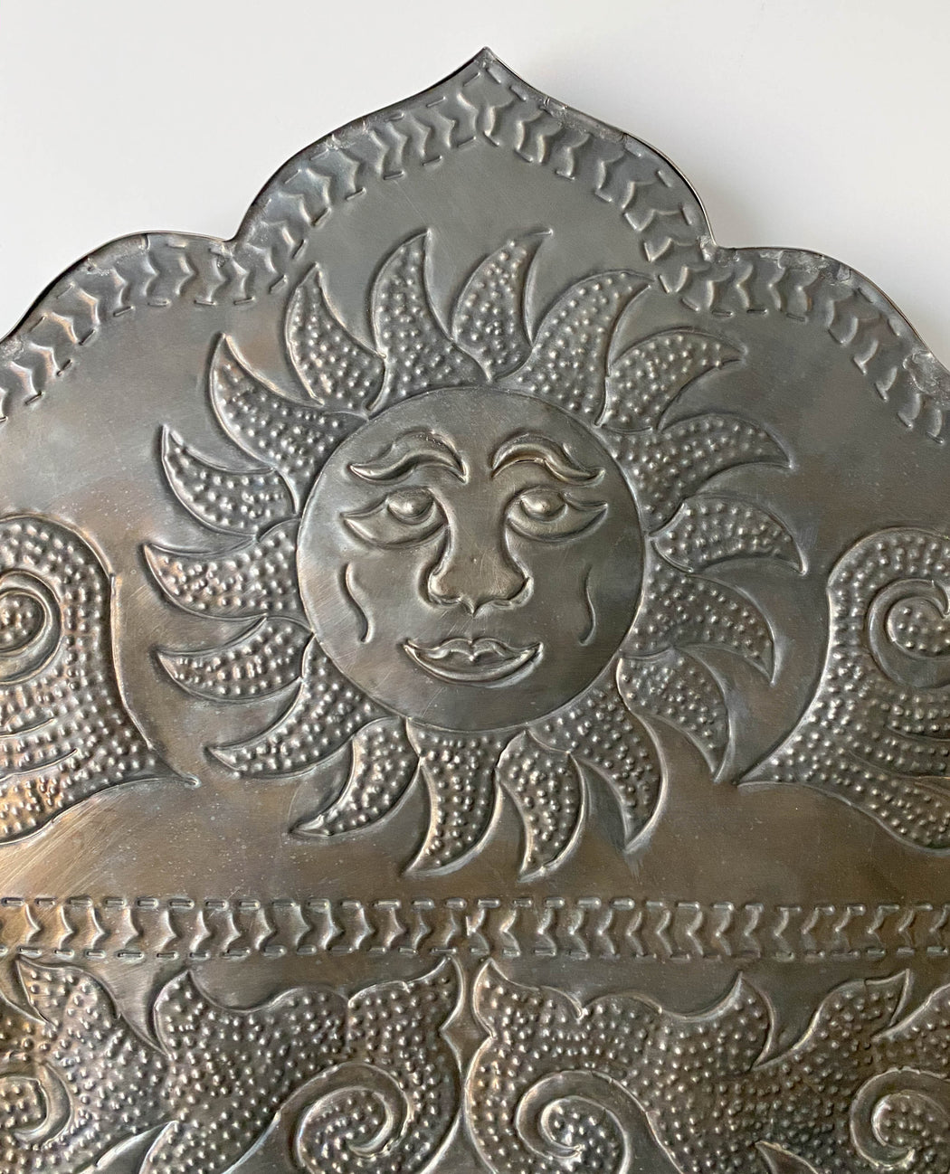 "34"" Vintage Punched Tin Mexican Mirror with Sun and Crescent Moons"