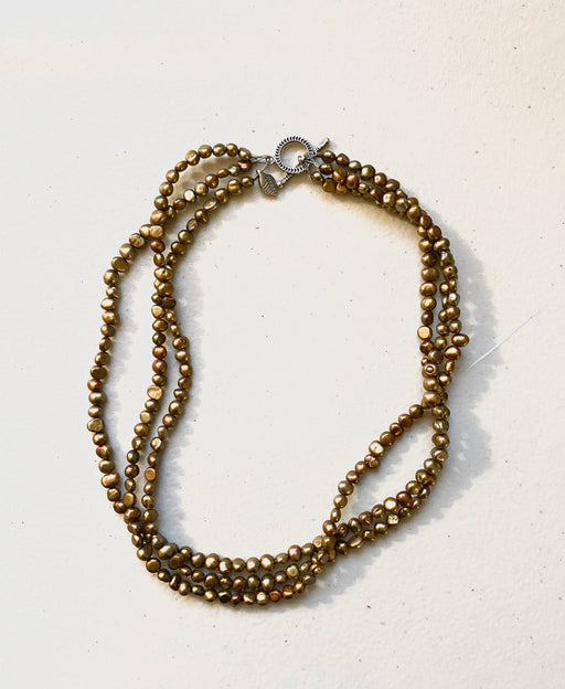 Vintage Three Strand Seed Beads Necklace