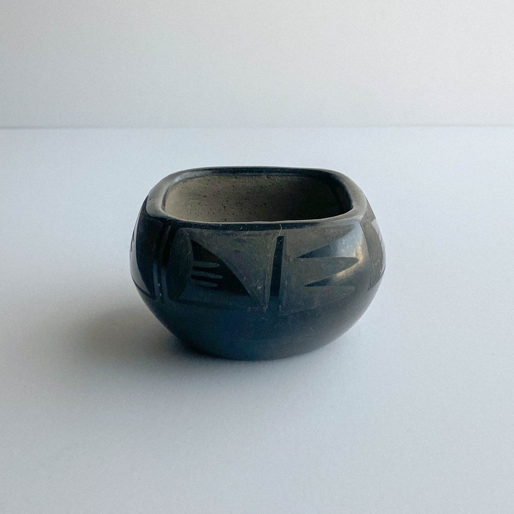 Vintage Small Black on Black Pottery Bowl