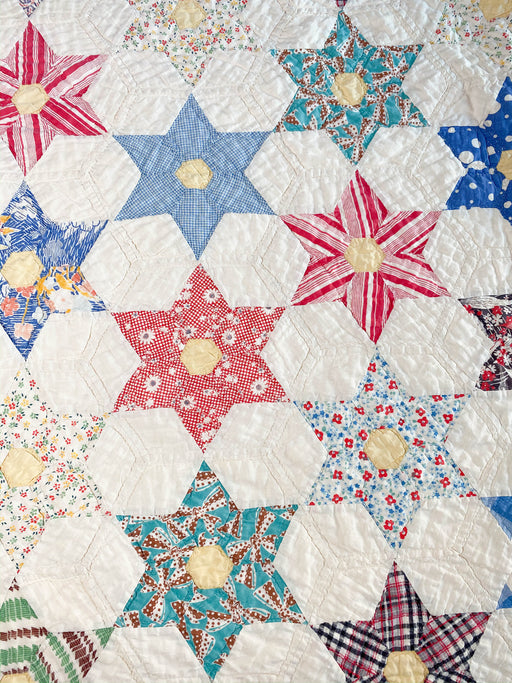 Vintage Star of David Quilt | Twin Size Antique Quilt