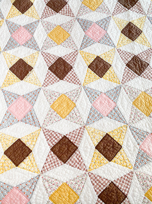 Vintage 4 Point Star Quilt | Twin Size Antique Quilt | Pink Brown Yellow