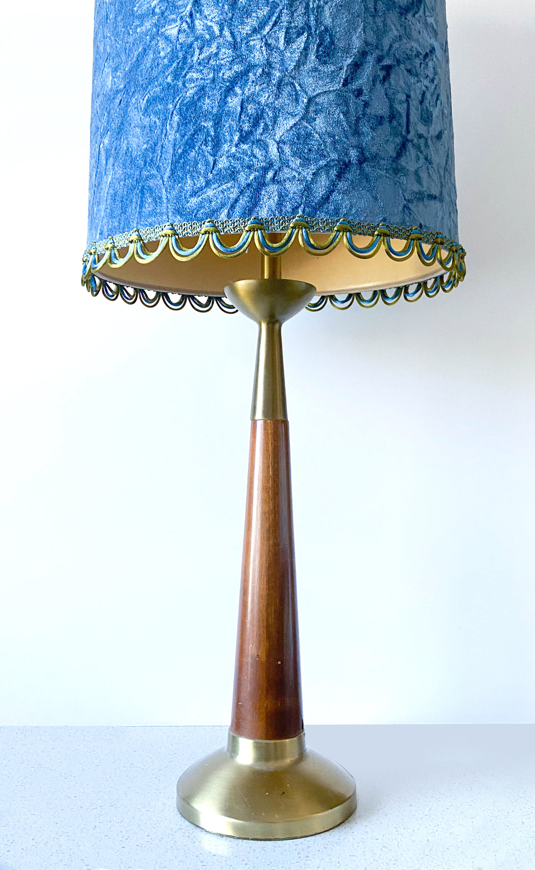 Mid Century Table Lamps with Blue Velvet Shades | Set of Two