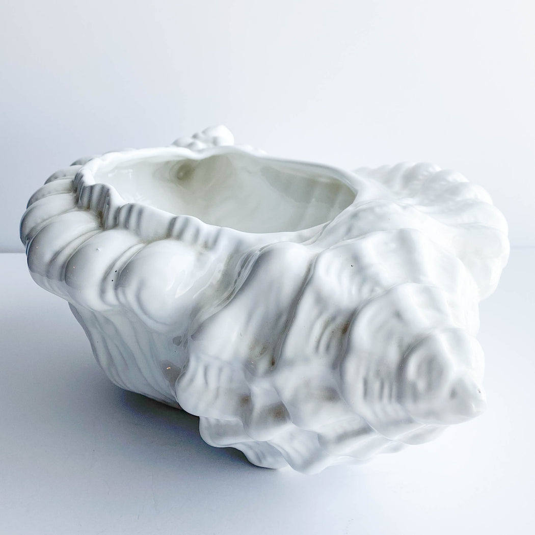 Vintage Bellini White Ceramic Conch Shell Planter