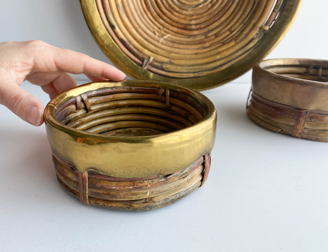 Vintage Brass Dipped Basket Set