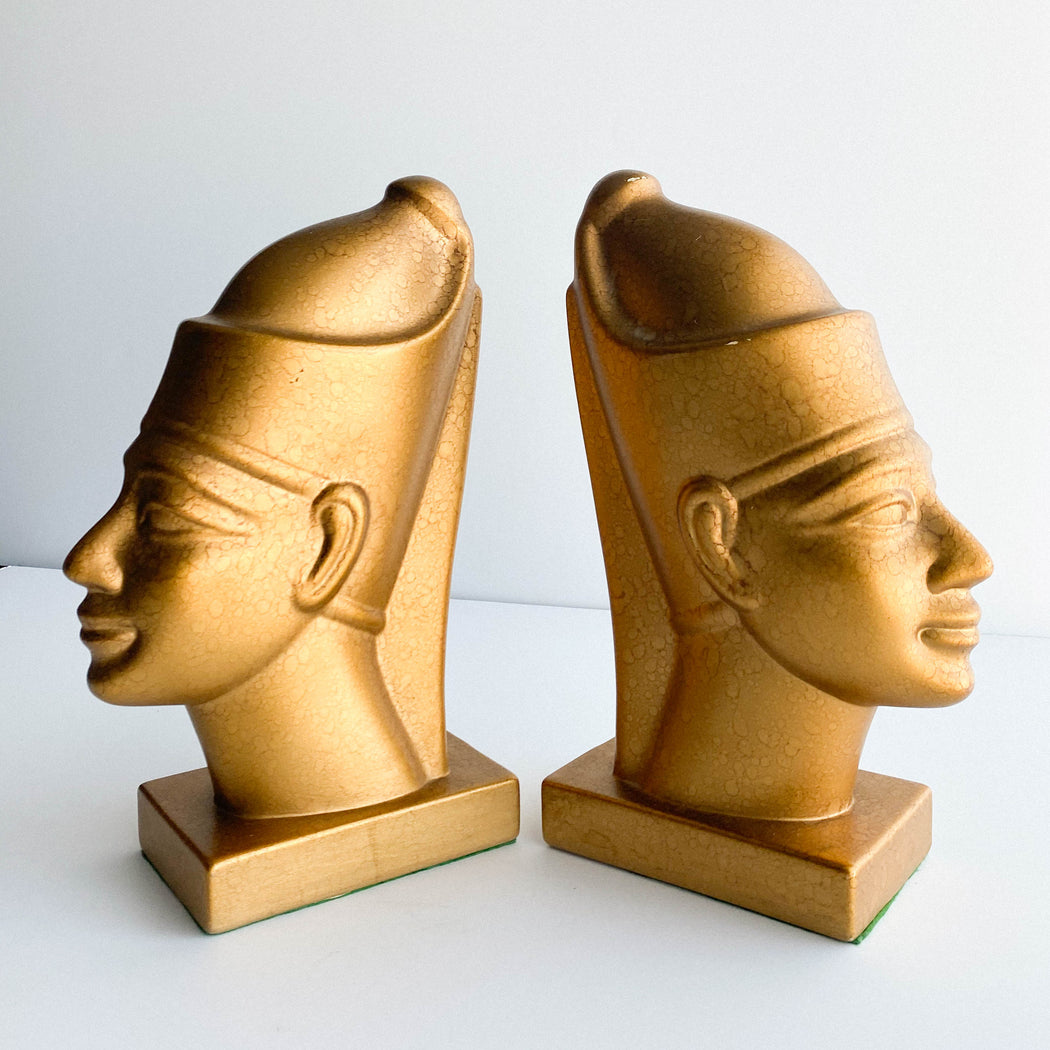 Vintage Pharaoh Bookends | Egyptian Revival Book Ends