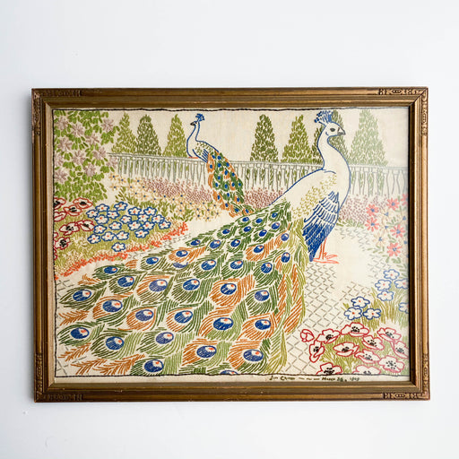 1949 Vintage Embroidered Peacock Fabric Art