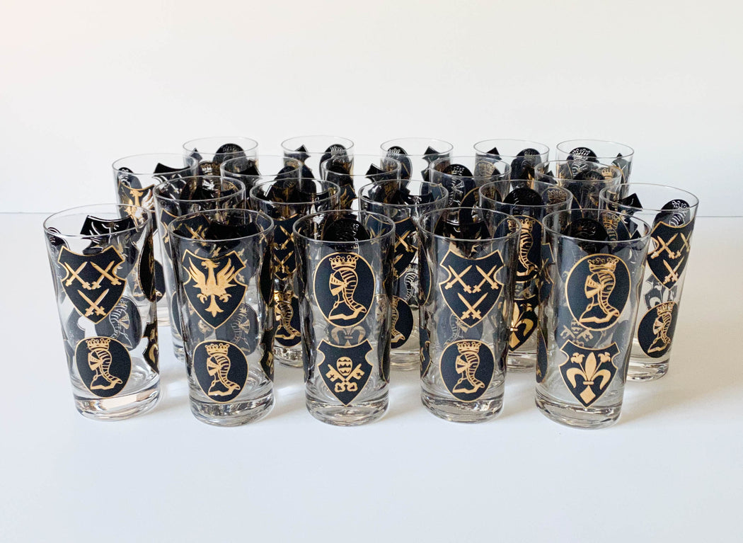 Vintage Set of 20 Medieval High Ball Glasses Barware