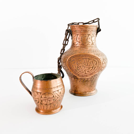 Antique Copper Pitcher and Mug
