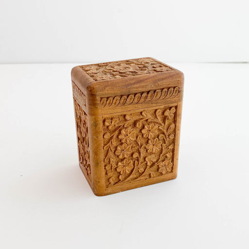 Vintage Hand Carved Wooden Card Box
