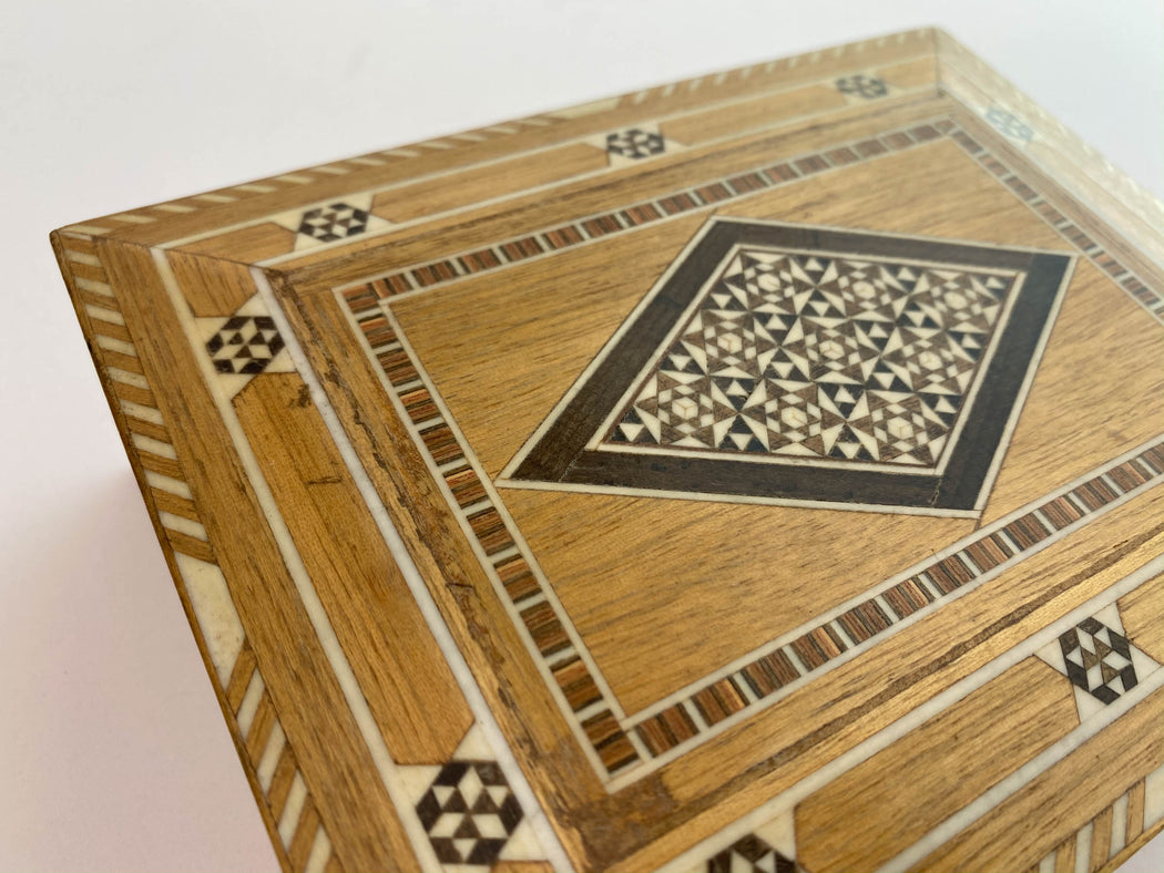 Vintage Wooden Mosaic Inlay Box | Middle Eastern Marquetry Decorative Arts