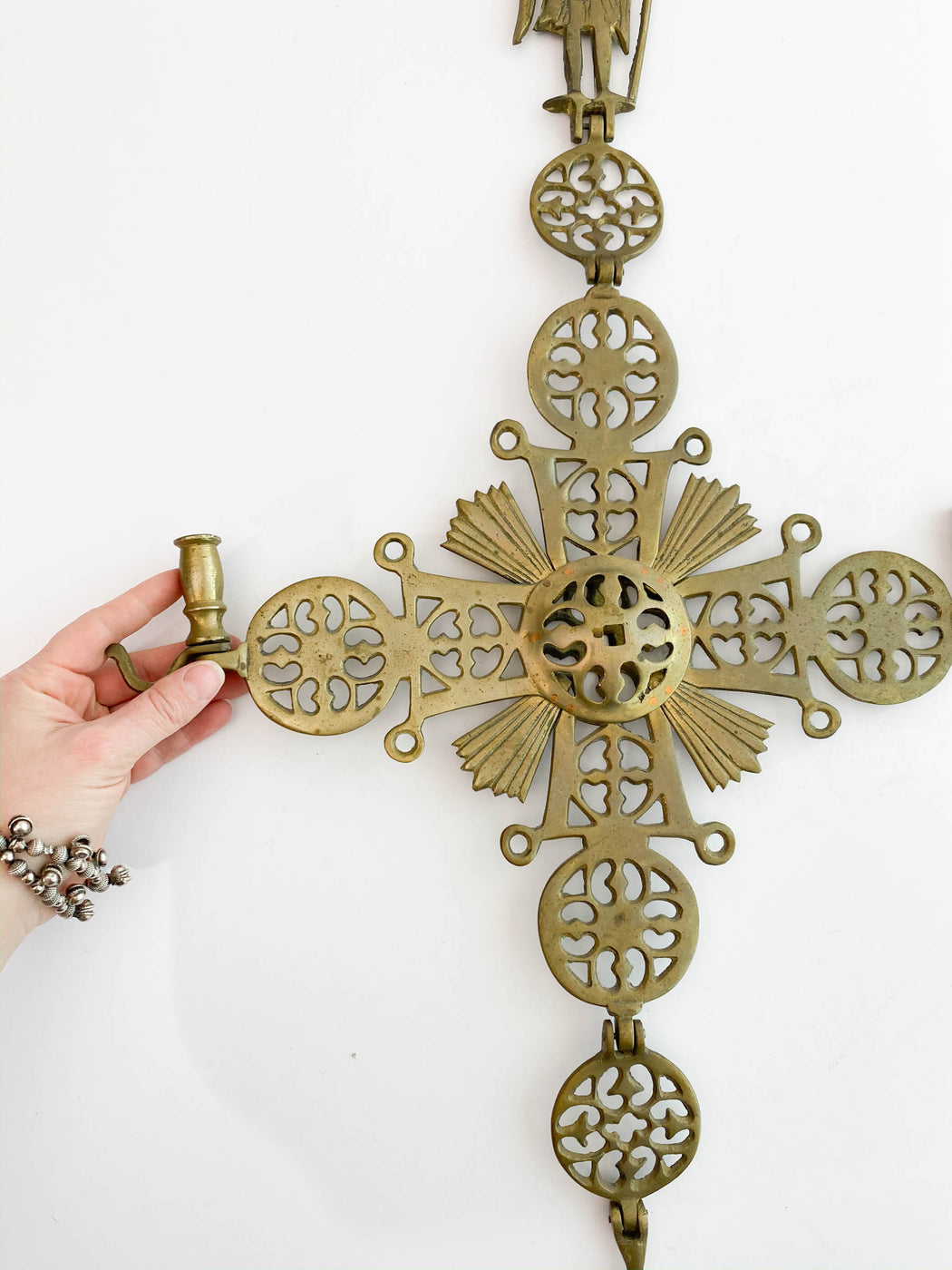 Antique Hanging Brass Byzantine Candle Holder | Smaltotex Greek Cross