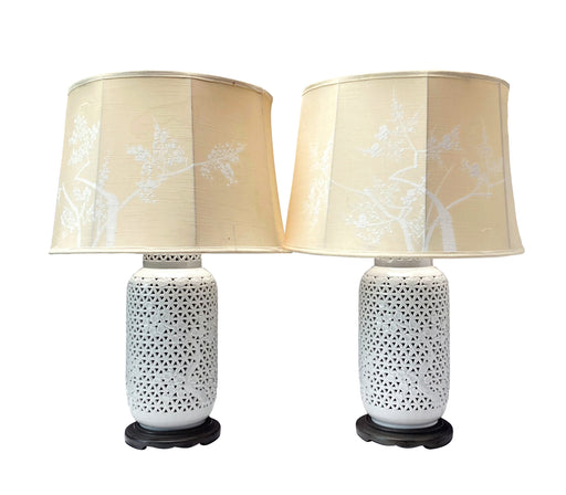 Vintage Blanc de Chine Lamp Pair | Pierced Porcelain Cherry Blossom Table Lamps