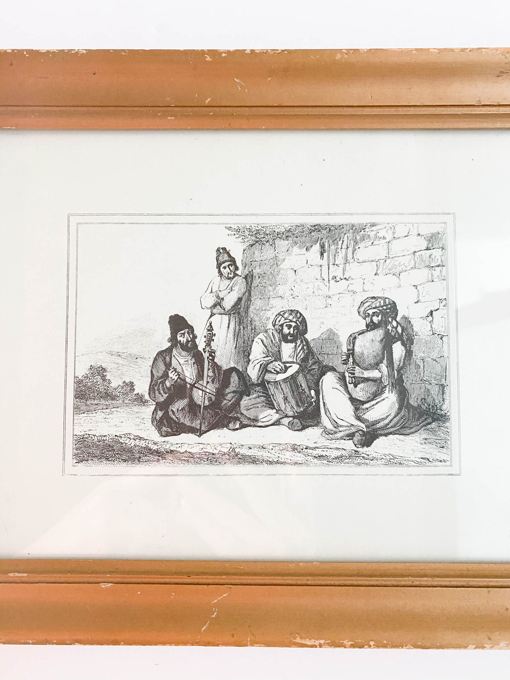 Vintage Iranian Lithograph Traveling Musicians