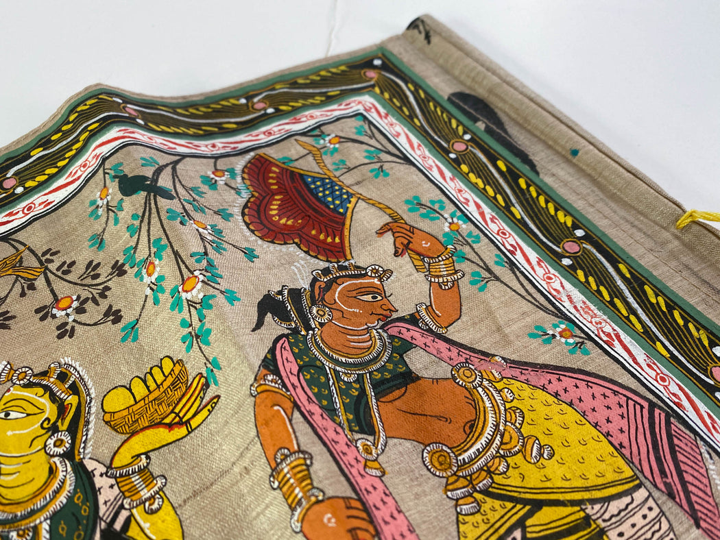 Vintage Pattachitra Painting on Cloth Krishna and Radha