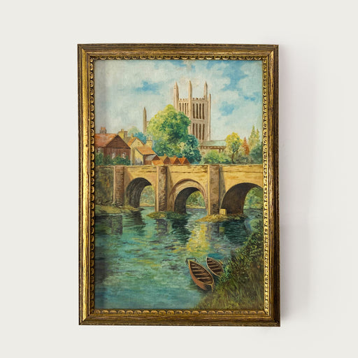 Vintage 1937 Oil Painting Arch Bridge