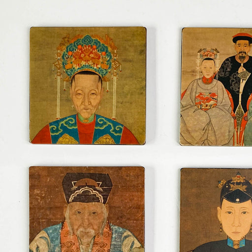 Vintage Ming Court Portraits Coaster Set