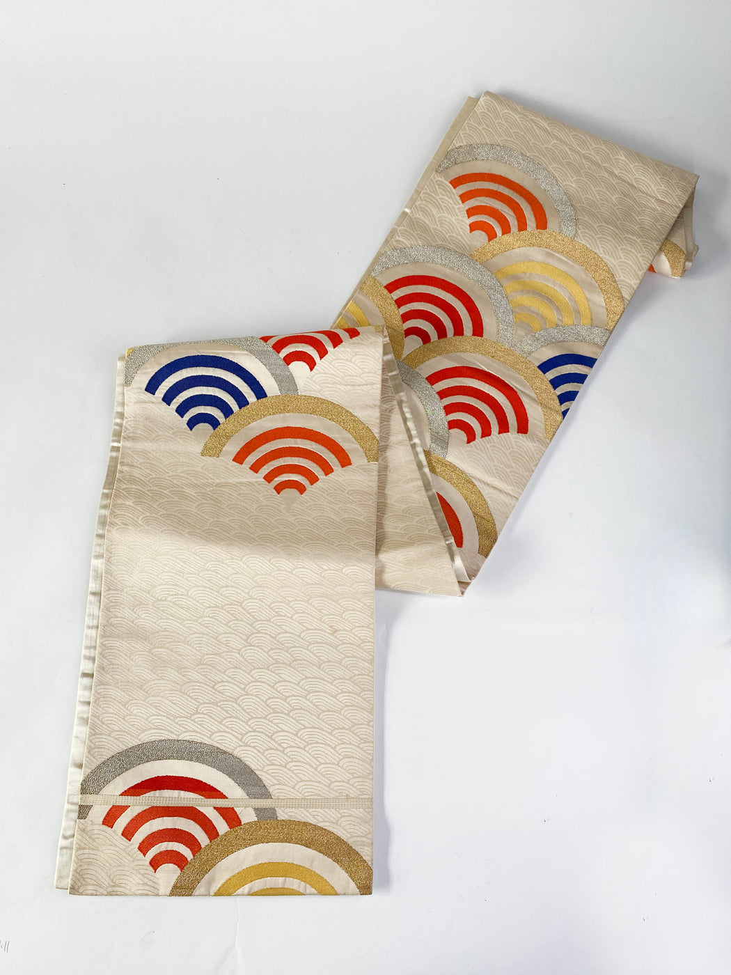 Vintage Fukuro Obi Brocade Silk With Orange Navy and Metallic Gold Fans