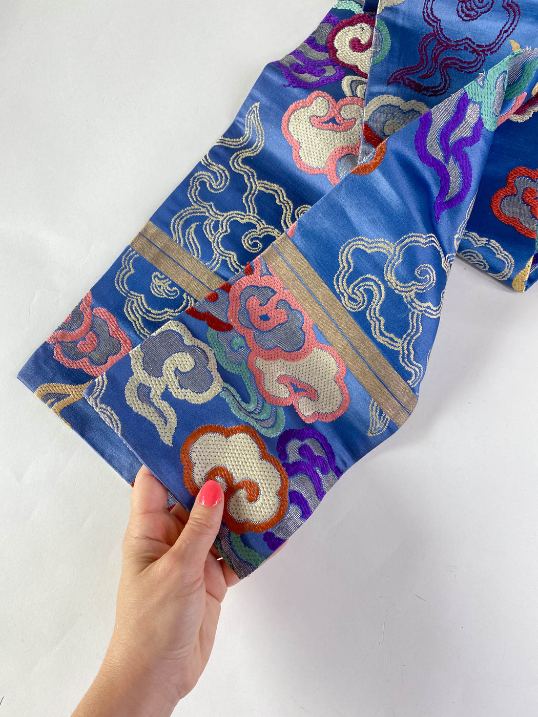 Vintage Hanhaba Obi Blue Silk Brocade With Colorful Clouds