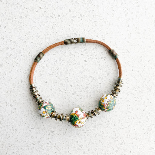 Vintage Ceramic Bead Choker Necklace
