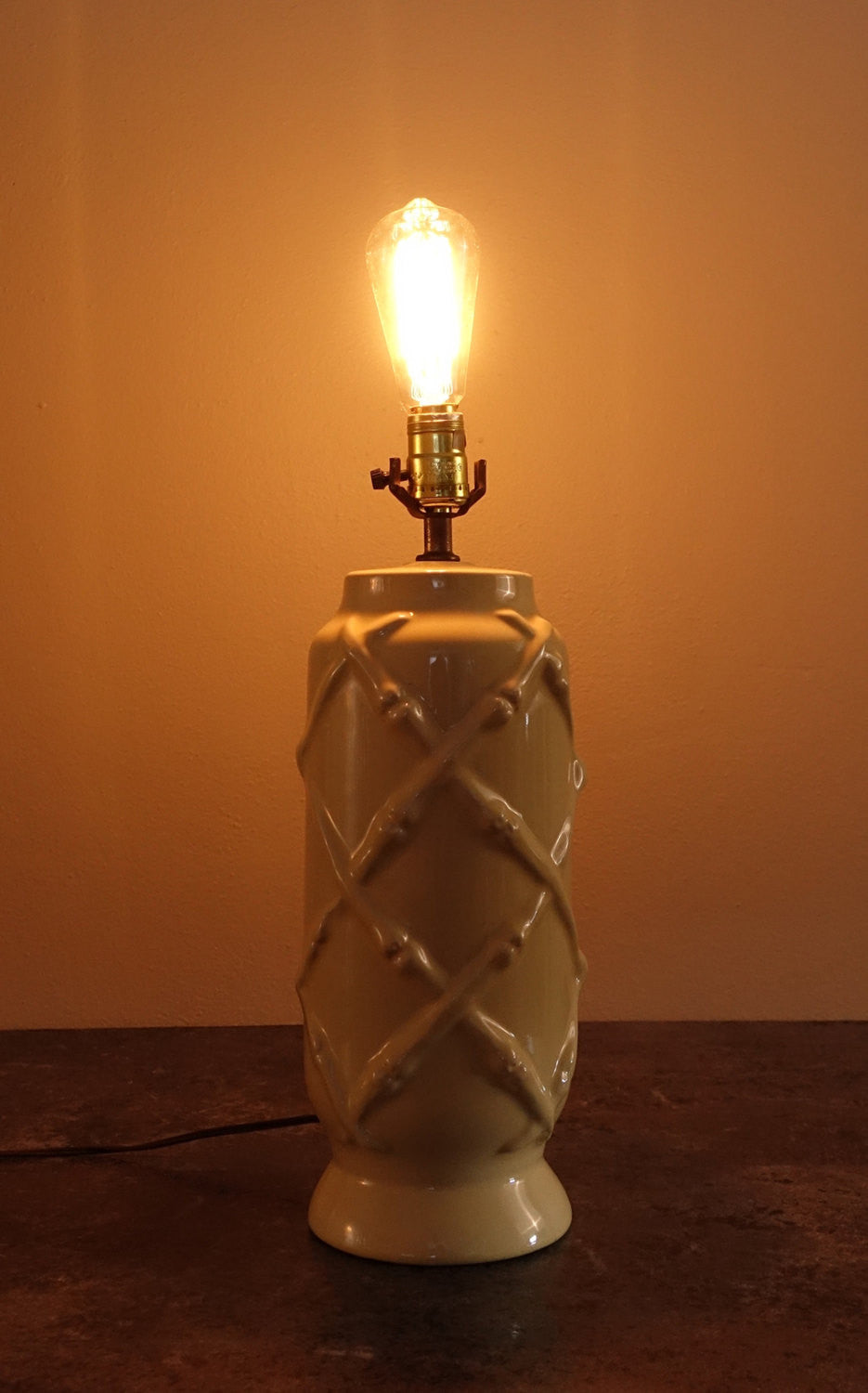 Vintage Yellow Bamboo Ceramic Table Lamp