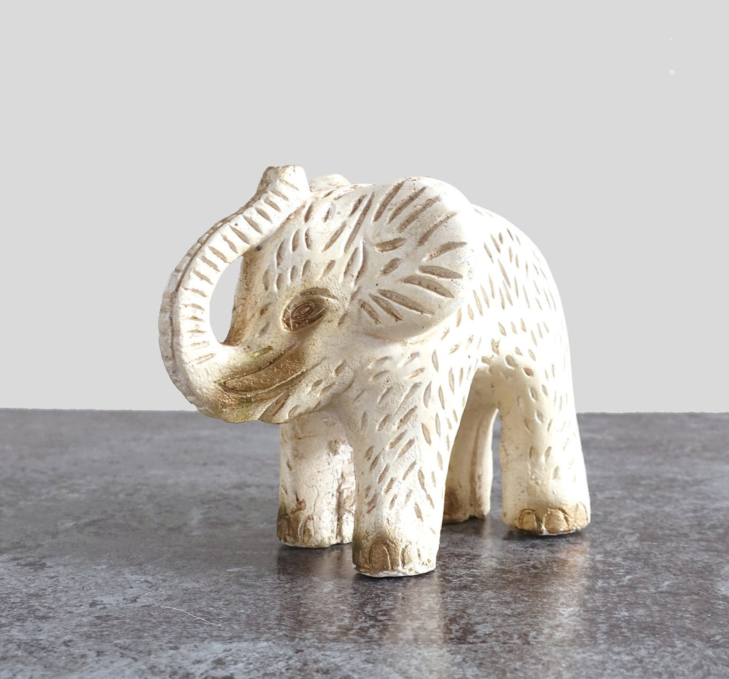 Vintage White and Gold Ceramic Elephant