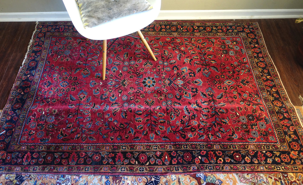 4x6 Antique Rug | Cranberry Persian Sarouk Carpet