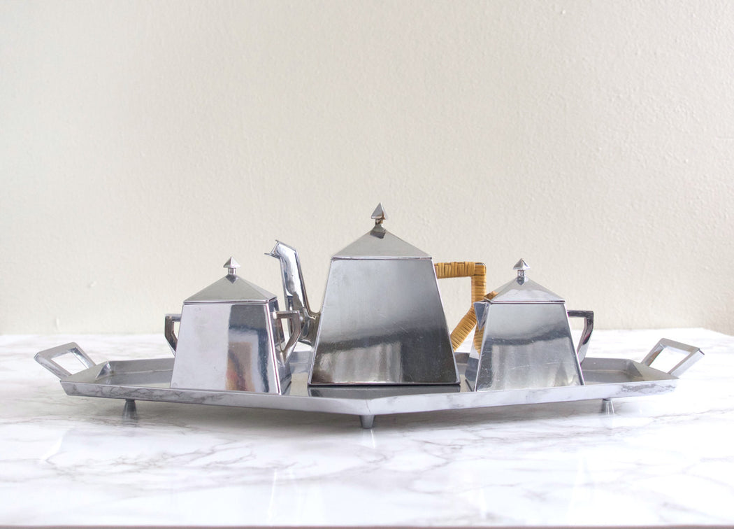 Art Deco Angular Silver Tea Service