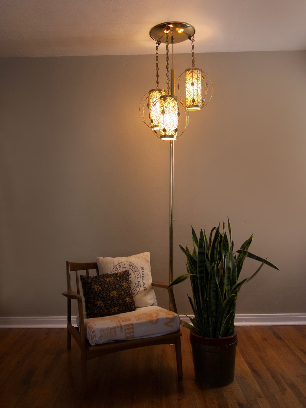 Mid Century Glam Tension Pole Lamp