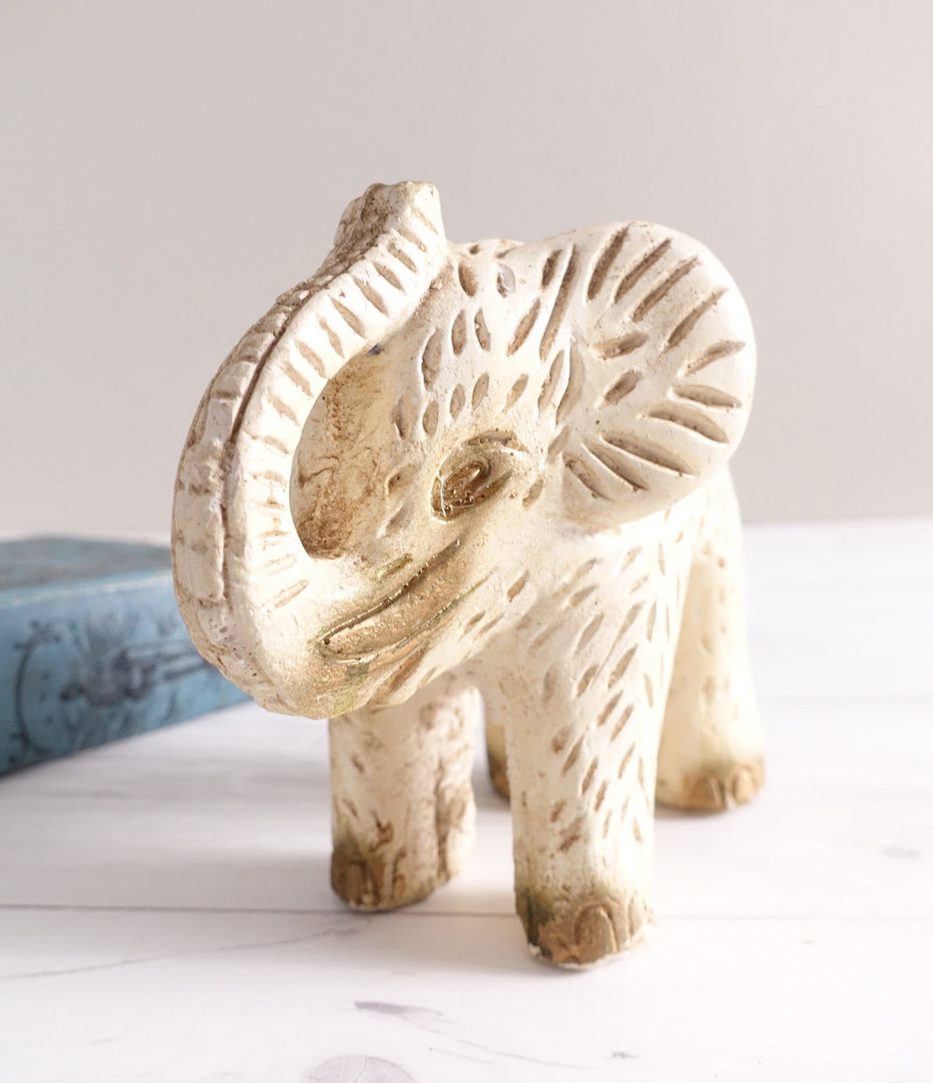 "8"" Vintage White and Gold Ceramic Elephant"