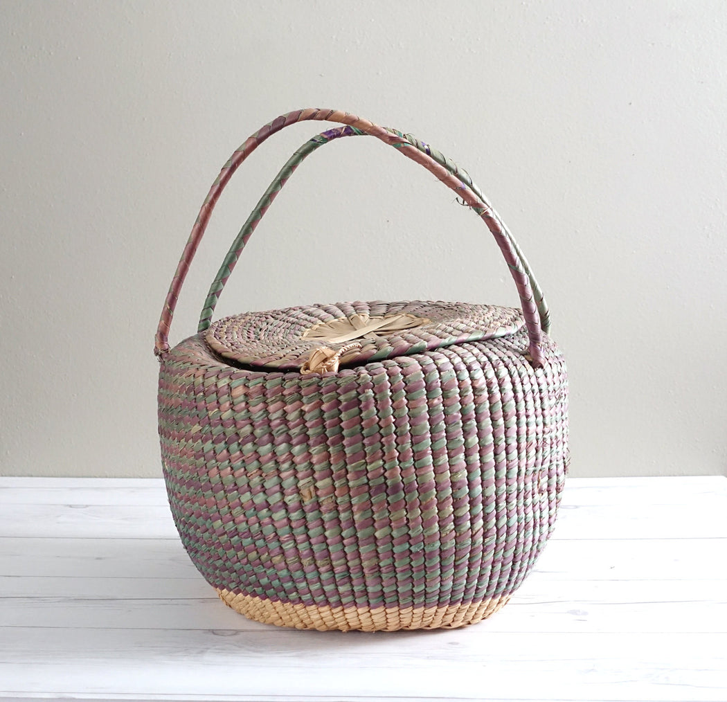 Vintage Straw Basket with Lid and Handles