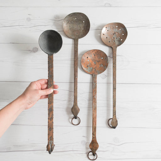 Set of Four Vintage Copper Cooking Spoons  | French Kitchen Decor
