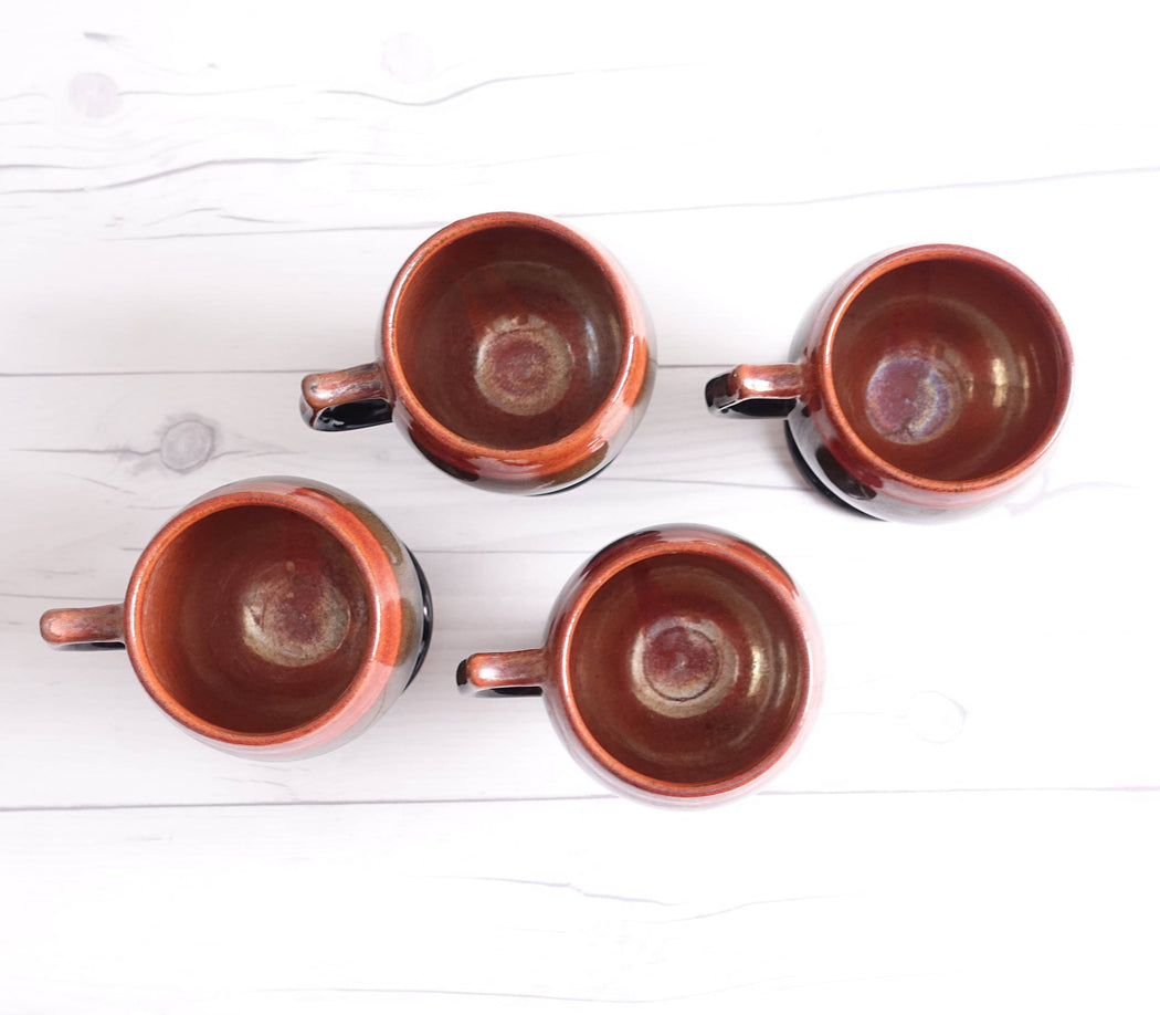 Set of Four Vintage Footed Mugs