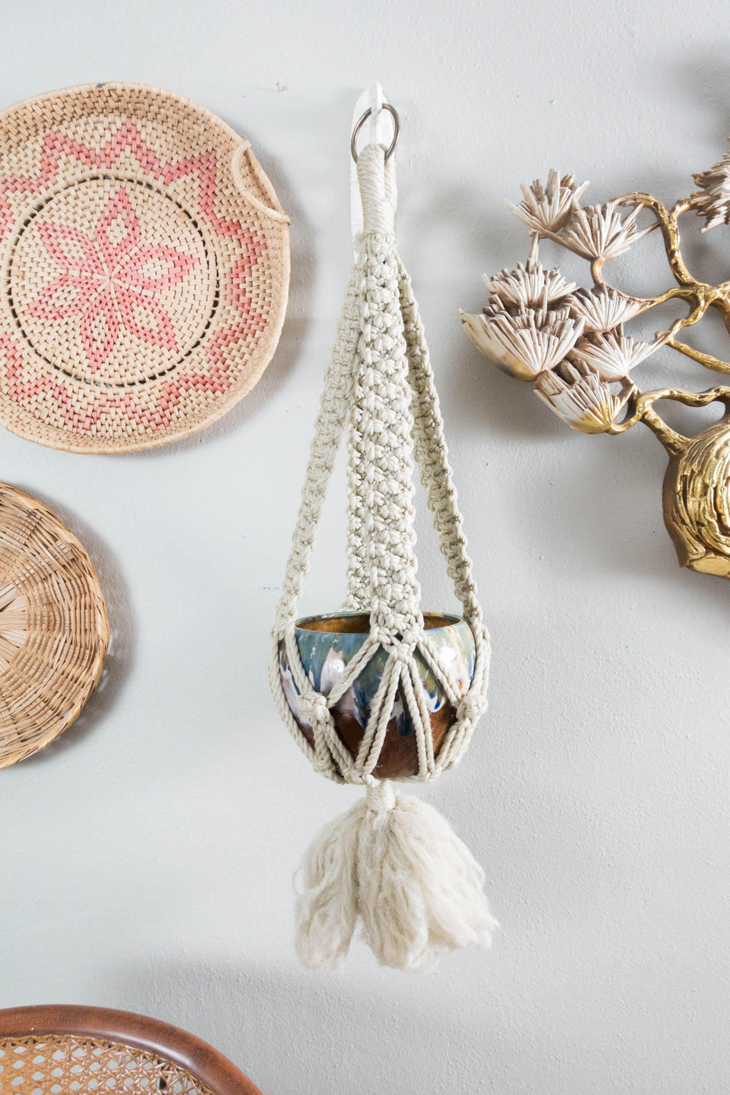 Vintage Blue and Brown Macrame Hanging Planter