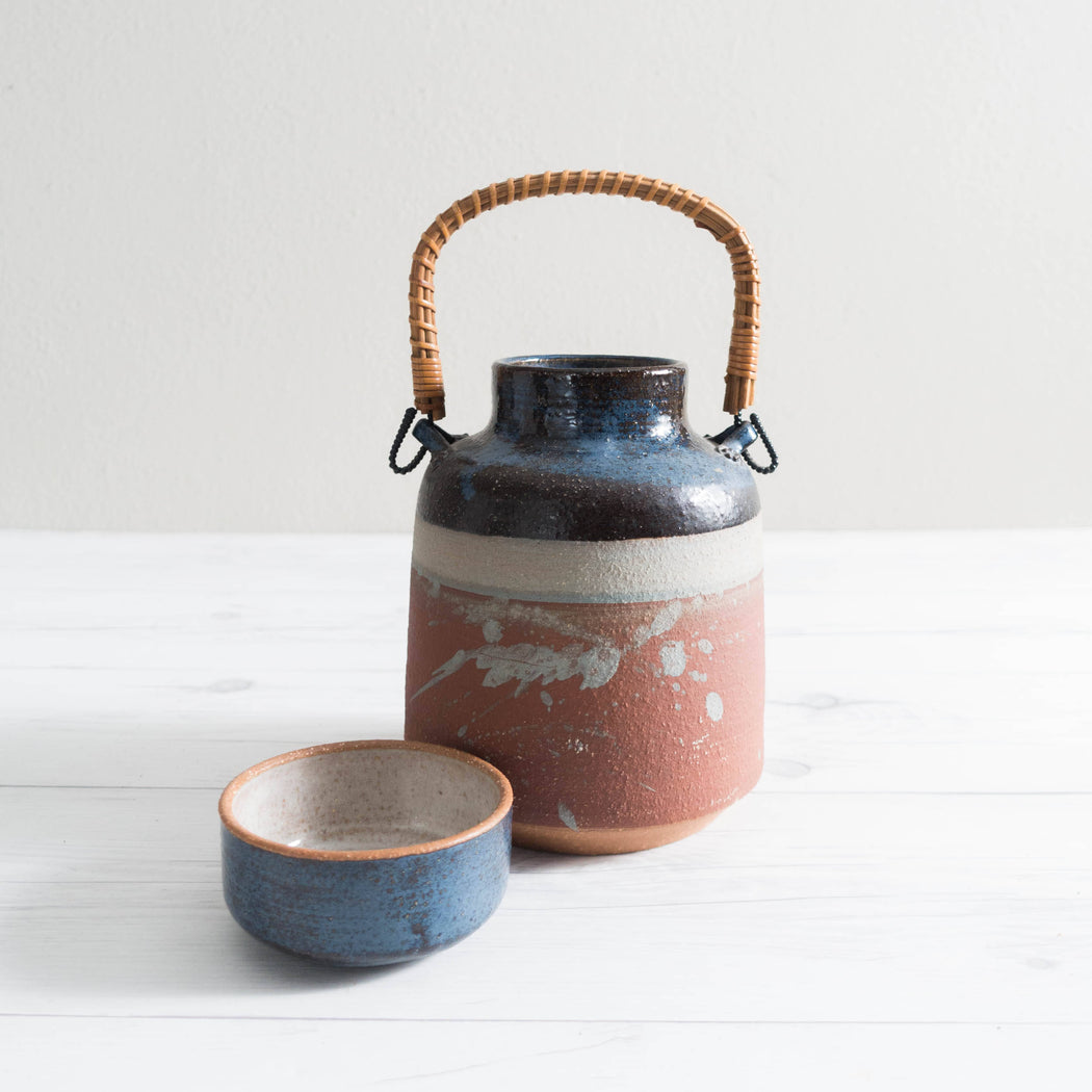 1979 Studio Pottery Water Jug and Cup Lid