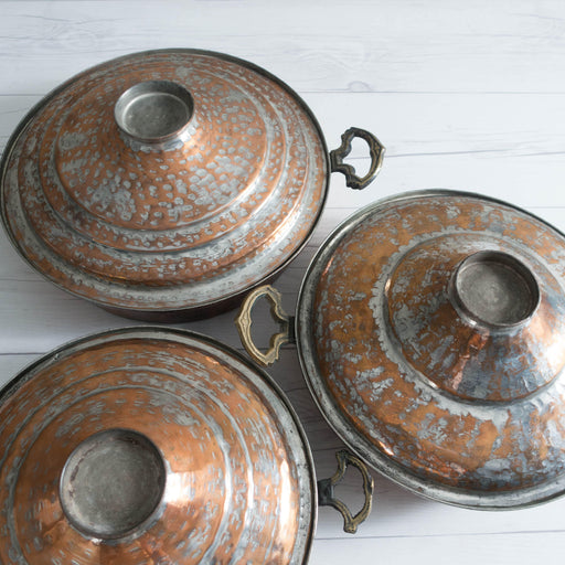 Set of Three Antique Turkish Copper Steamer Pots