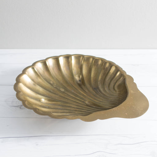 Vintage Brass Scallop Shell Bowl